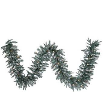 9'  Prelit Frosted Crystal Balsam Garland by Valerie - H286917
