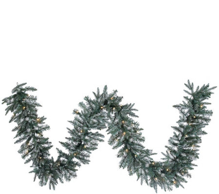 9'  Prelit Frosted Crystal Balsam Garland by Valerie