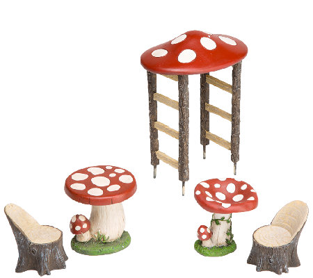 Plow & Hearth Mushroom Fairy Garden Set