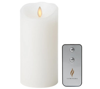 "Luminara 7"" White Unscented Flameless Candle w/Remote - H288617"