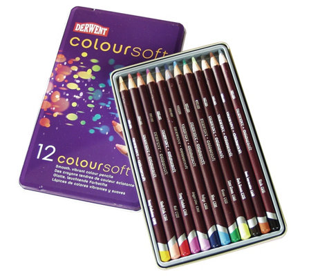 Derwent Coloursoft 12-Piece Pencil Set with Tin