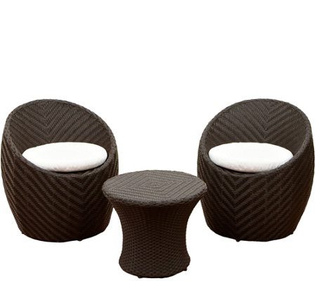 Denise Austin Home 3-piece Brown Wicker ChatSet