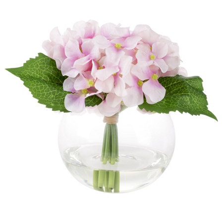 Pink Hydrangea Artificial Flowers with Vase byPure Garden
