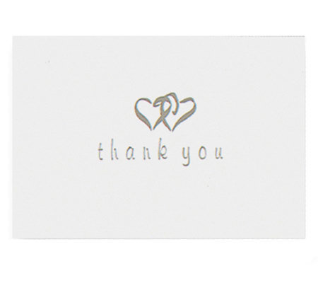 Set of 50 Heart-Patterned Thank You Cards