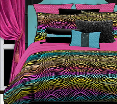Veratex Rainbow Zebra Twin Comforter Set