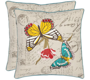 "Safavieh Set of 2 18""x18"" Sandia Butterfly Pillows - H360617"