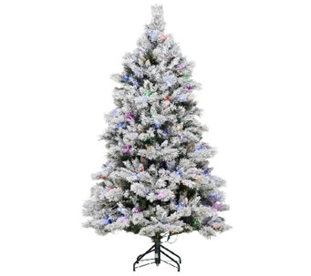 ED On Air Santa's Best 6.5' Flocked Spruce Tree Ellen DeGeneres - H204018