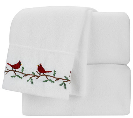 Malden Mills TW XL Holiday Embroidered Polarfleece Sheet Set