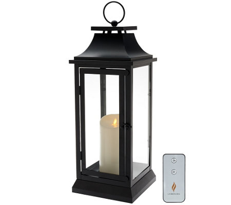 "Luminara 19"" Heritage Indoor Outdoor Lantern with Flameless Candle & Remote"