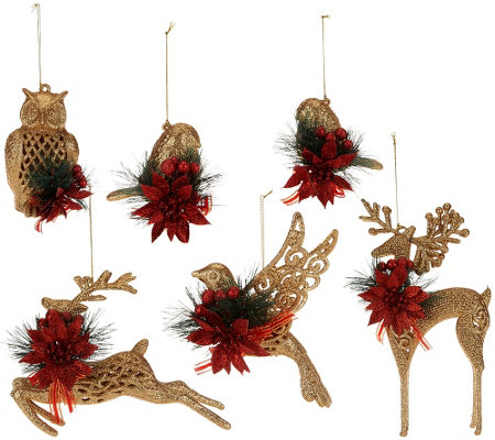 """As Is"" Set of 6 Glittered Forest Friends Ornaments w/ Embellishments"
