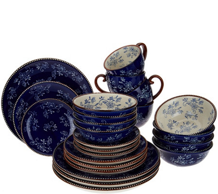 Temptations 24-piece Floral Lace Service for 4 Dinnerware Set