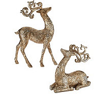 Set of 2 Metallic Antiqued Reindeer by Valerie - H210018