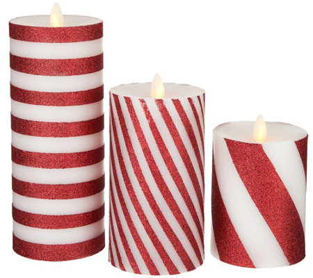 Bethlehem Lights Set of 3 Glitter Striped Touch Candles