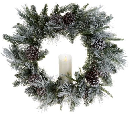 "Luminara 23"" Flocked Wreath with Pillar Candle"