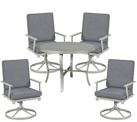 "South Beach 5-Pc 42-1/2"" Dining Table & SwivelRocking Chairs"