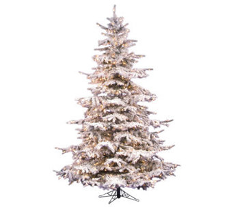 10' Flocked Sierra Pine PVC Tree with Clear Dura-Lit Lights - H362118