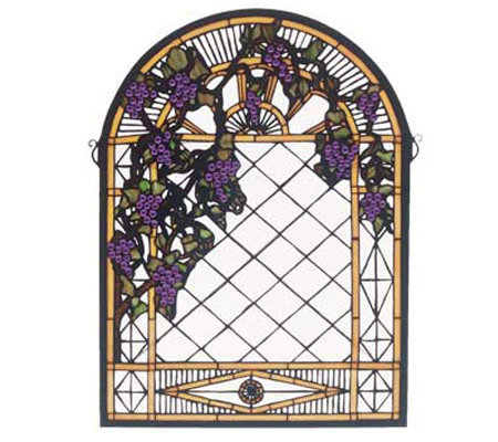 Meyda Tiffany Style Grape Diamond Window Panel