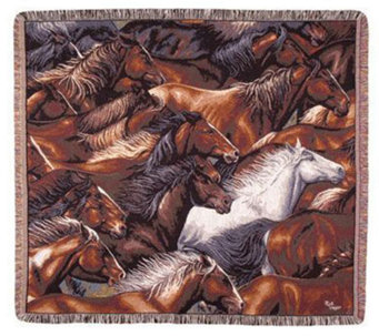 Horse of a Different Color Tapestry Throw by Simply Home - H188019
