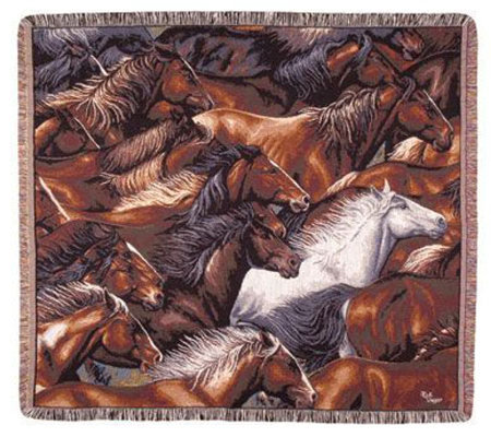 Horse of a Different Color Tapestry Throw by Simply Home