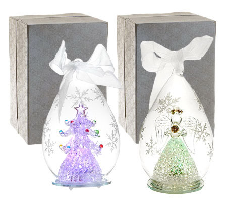 "Set of 2 5-1/2"" Color Changing Glass Ornaments with Gift Boxes"