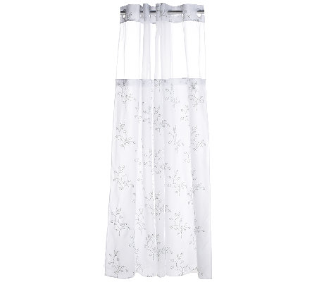 Hookless Spring Leaves Embroidered 3 In 1 Shower Curtain