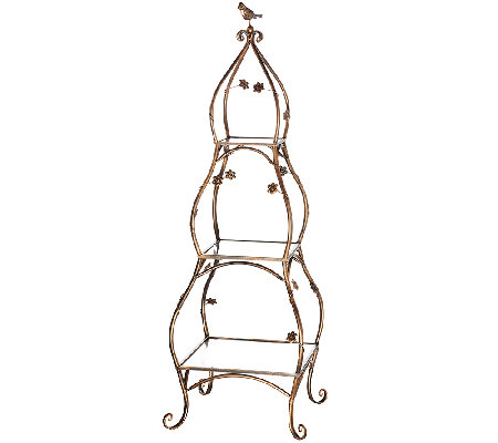 3-Tier Bronze Etagere with Birds and Flowers by Valerie