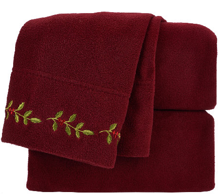 Malden Mills FL Holiday Embroidered Polarfleece Sheet Set