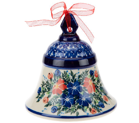 Lidia's Polish Pottery Stoneware Large Bell Collectible