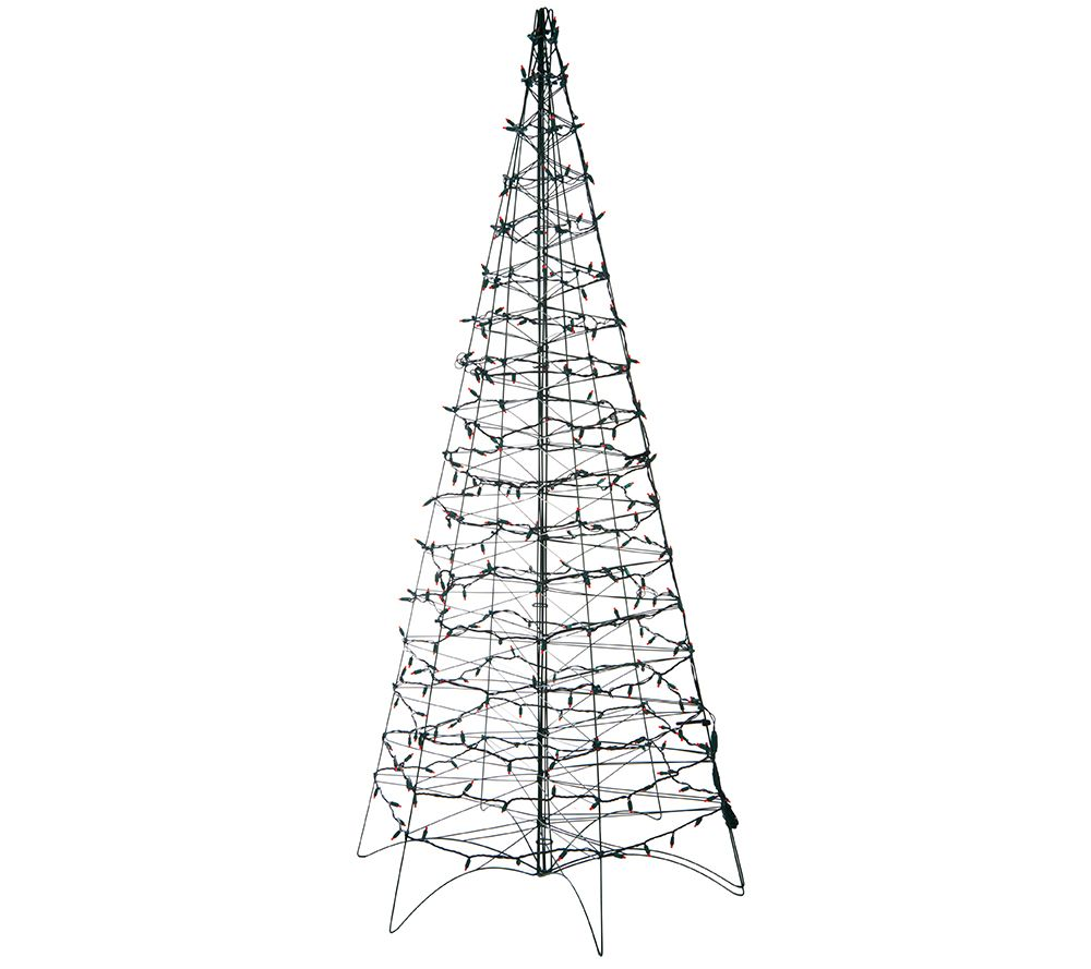 Pre-Lit LED 6' Fold Flat Outdoor Christmas Tree by Lori Greiner ...