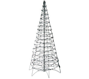 Pre-Lit LED 6' Fold Flat Outdoor Christmas Tree by Lori Greiner - H206419
