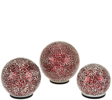 """As Is"" Set of 3 Illuminated Mirrored Mosaic Spheres by Valerie"