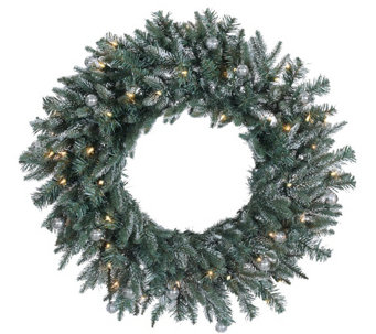 "30"" Prelit Frosted Crystal Balsam Wreath by Valerie - H286919"