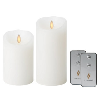 "Luminara 5"" and 7"" White Flameless Candles w/Timer & Remotes - H288619"