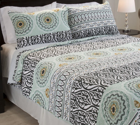 Lavish Home Muna Embroidered 3-Piece Full/QueenQuilt Set