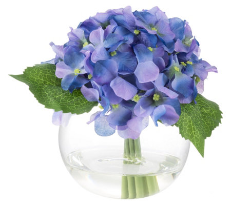 Purple Hydrangea Artificial Flowers with Vase by Pure Garden