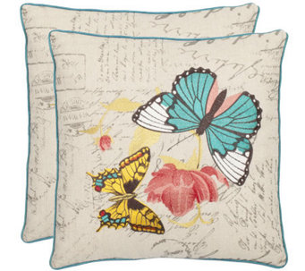 "Safavieh S/2 18""x18"" Ilavia Butterfly AppliquePillows - H360619"