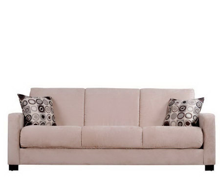 Handy living cabo cac microfiber sleeper sofa w pillows for Qvc sofa bed