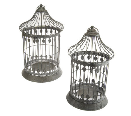Set of 2 Decorative Metal Birdcages by Valerie
