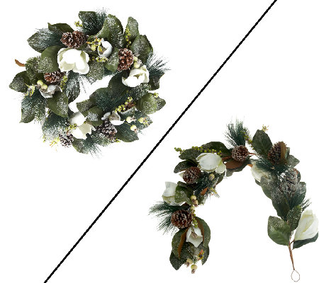 "Magnolia and Pinecone 26"" Wreath or 4' Garland by Valerie"