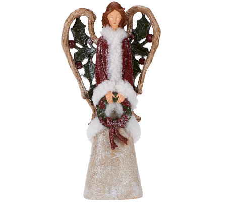 Frosted Woodland Angel with Wreath by Valerie