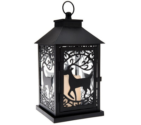 "Dennis Basso 14"" Metal Holiday Lantern with Flameless Candle w/Timer"
