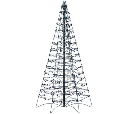 Pre-Lit LED 5' Fold Flat Outdoor Christmas Tree by Lori Greiner