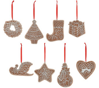 Set of 8 Gingerbread Cookie Ornaments by Valerie - H208720