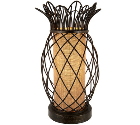Antiqued Bronze Metal Pineapple Plug-In Lamp by Valerie