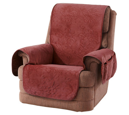 Sure Fit Soft Velvet Floral Pinsonic Patterned Recliner Cover
