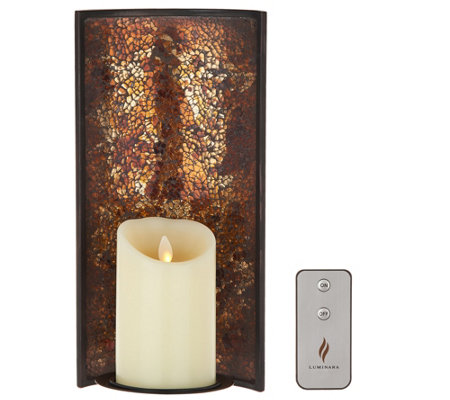"Luminara 12"" Mosaic Wall Sconce with 4"" Pillar & Remote"