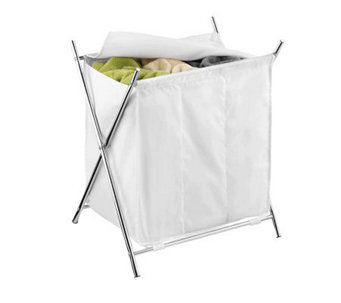 Honey-Can-Do Chrome X-Frame Triple Hamper - H356420