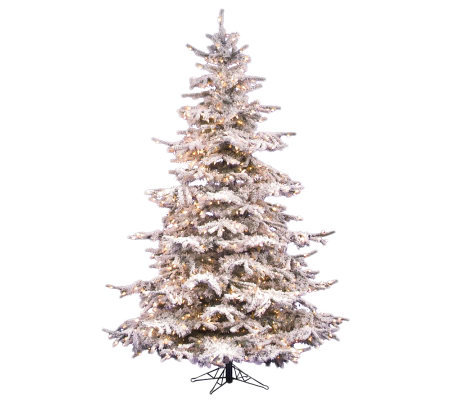 12' Flocked Sierra Pine PVC Tree with Clear Dura-lit Lights