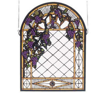 Tiffany Style Grape Diamond Trellis Window Panel - H123521