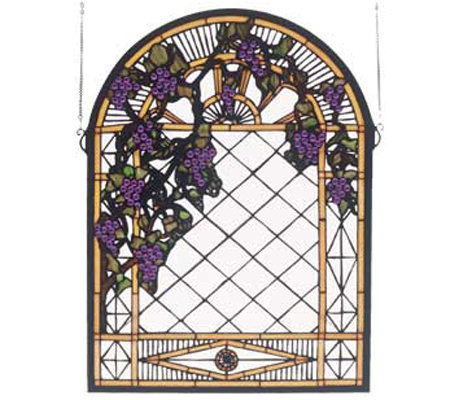 Tiffany Style Grape Diamond Trellis Window Panel